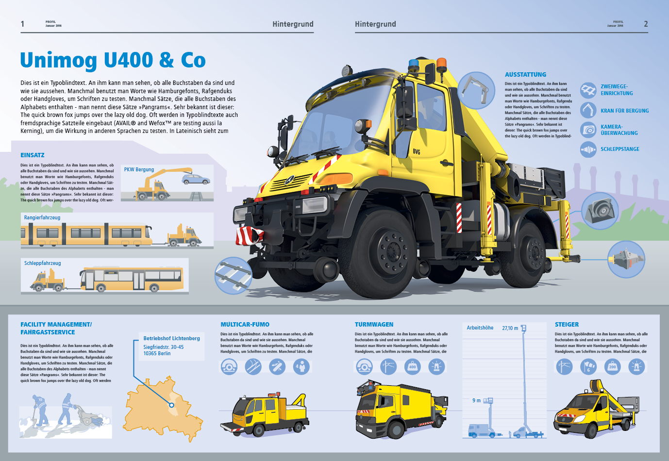 Infographic with 3D Graphic Unimog